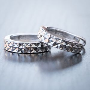 Silver Diamond Cut Hoop Huggie Earrings For Men